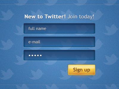 Twitter's registration form ui form twitter interface ux blue registration