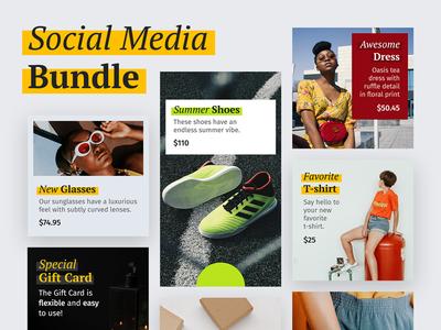 Social Media Bundle post media bundle social sale psd marketing template story instagram ecommerce discount branding