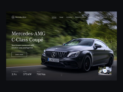 Mercedes-AMG C-Class Cover Concept animation interaction motion video web website minimal minimalism figma principle affter effects clean typogaphy interface cover page effect transition ux ui