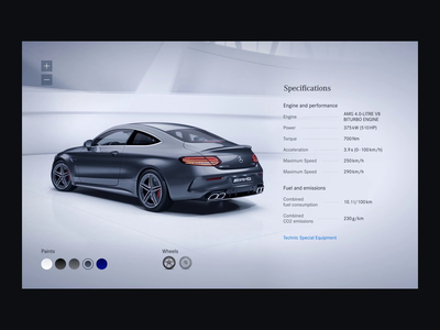 Mercedes-AMG C-Class Specifications Concept interface interaction video website web amg mercedes car affter effects principle card motion figma minimal minimalism design animation clean ux ui