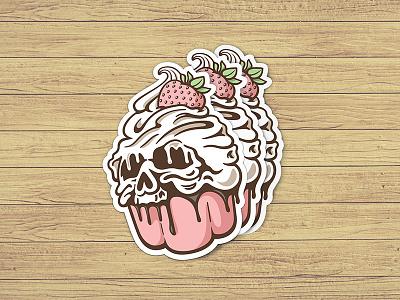 Cupcake Stickers stickers sticker bakery pastry ice-cream skull chocolate pink strawberry cream muffin cupcake