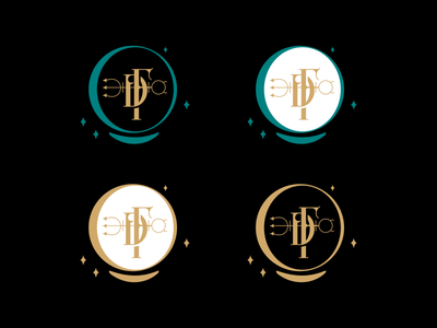 FD monogram astrology symbol cards stars monogram gold alchemy planetary horoscope tarot fortune