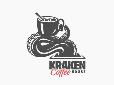 Kraken Coffee House coffee cup cup of coffee mug cafe logo cafe beverage kraken tentacles tentacle octopuss coffee house coffee