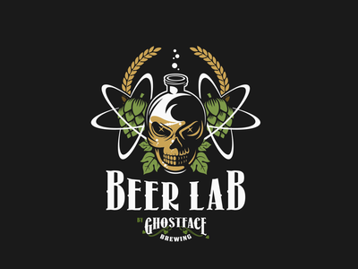 Beer Lab brewery brewing brew craft bottle bubbles leaves skull atoms hops lab beer