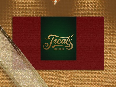 Treats gold foil ribbon pastry shop pastry homemade cookies presents gifts busines card boutique treats