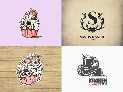 2018 skull sticker kraken octopus ranch deer horn bird s letter sweets coffee sugar cupcake