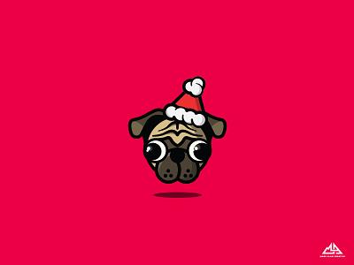Santa Pug santa vector christmas illustrator pugs pug