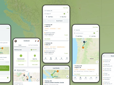 BulkLoads - Bulk Freight Load Searching cards ui android ios mobile design map dashboard search react native ui ux mobile app app design app