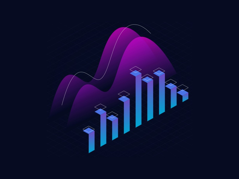 Landing Page Illustrations charts data trends bitcoin abstract abstract illustration branding isometric illustration illustration cryptocurrency