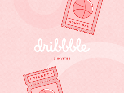 Two Dribbble Invites flat 2d icon player ticket draft giveaway invitation invite