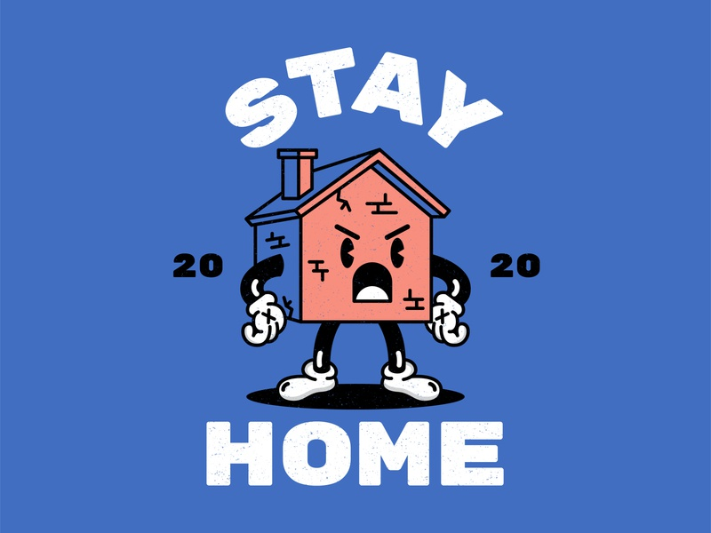 Stay Home drawing illustrator house home quarentine work from home stayhome typoraphy type blue character design design character cartoon illustration