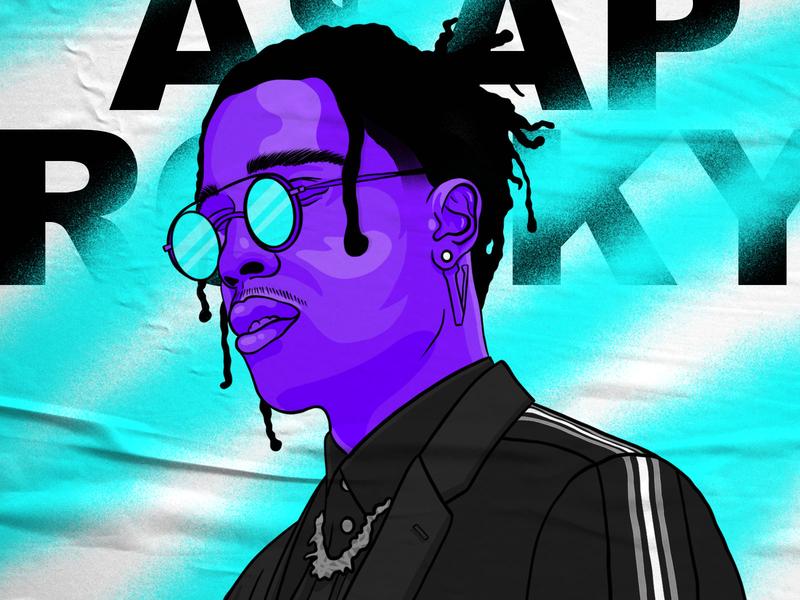 ASAP ROCKY hypebeast face character design character man portrait drawing type blue purple rapper poster paint spraypaint typogaphy asap rocky procreate illustration
