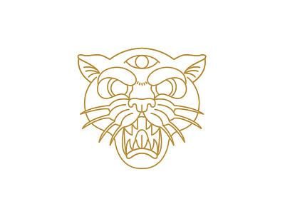 Panther wild third eye gold tattoo panther monoline logo icon design flat vector illustration badge animal