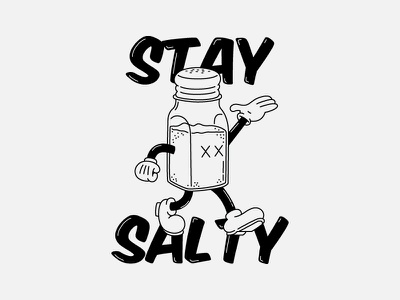 Stay Salty illustrator drawing old school cartoon character typography type illustration salt shaker salt