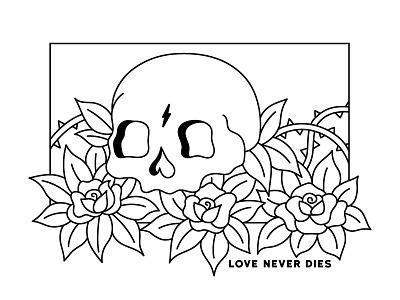 Love Never Dies beautiful pretty thorn death illustration line monoline love flowers flower rose skull