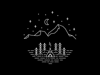 Camping crescent moon white mountain landscape moon stars night line illustration monoline circle forrest black  white black outdoor nature mountains camping