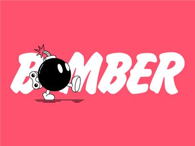 Bomber design vector felt typography type marker mario bros cartoon character illustration red and white red bomber bomb nintendo mario