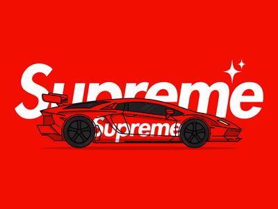Supreme x Lamborghini lamborghini vector illustrator type typogaphy hypebeast drawing brand red sports car car illustration supreme