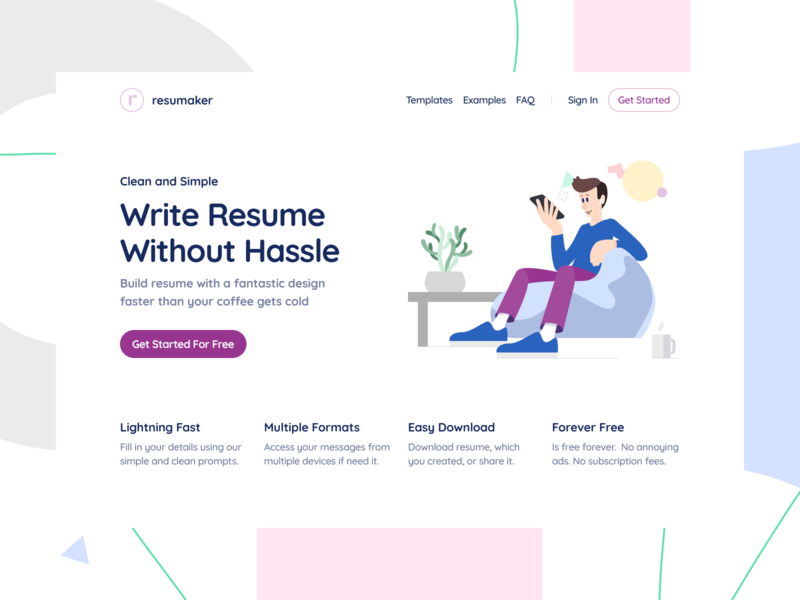 Self Space Illustrations web resume moonmen ux ui product design
