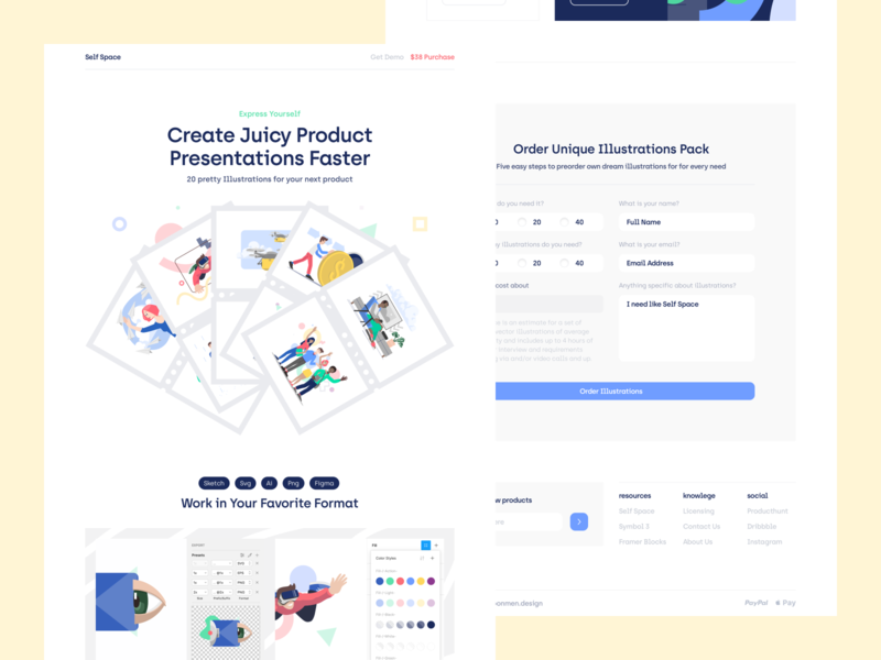 Self Space Illustrations product design web ui ux moonmen