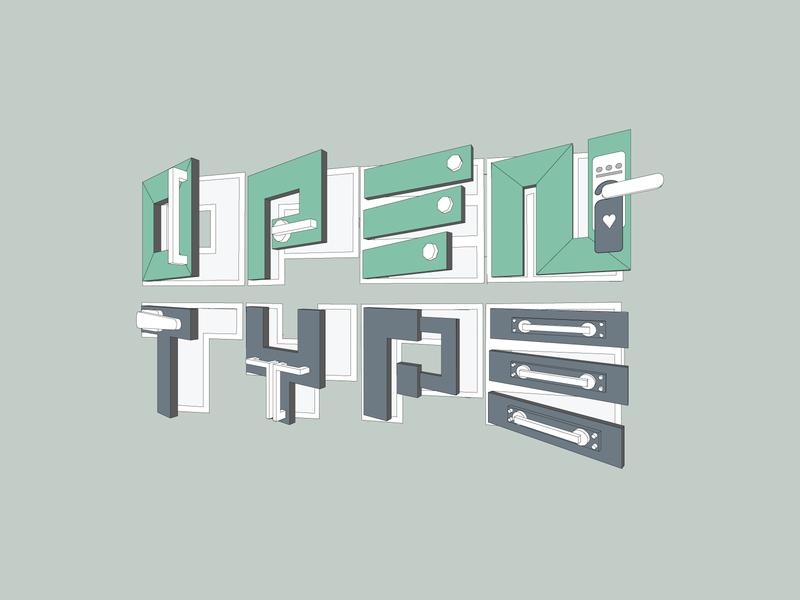 Open Type vector 3d design logo