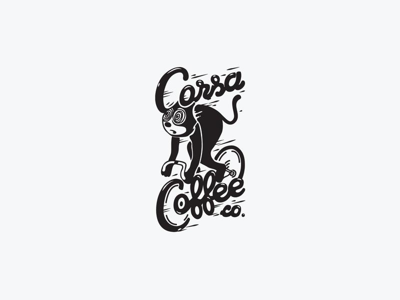 Corsa Coffee Sticker felix bike cat sticker coffee corsa vector flat design logo