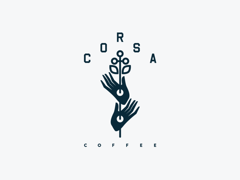 Corsa Coffee Tee plant hands corsa coffee typography flat icon illustration design logo