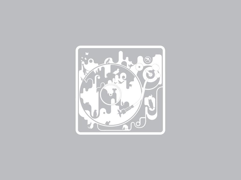Aphex T vinyl player record animals flat icon branding vector logo