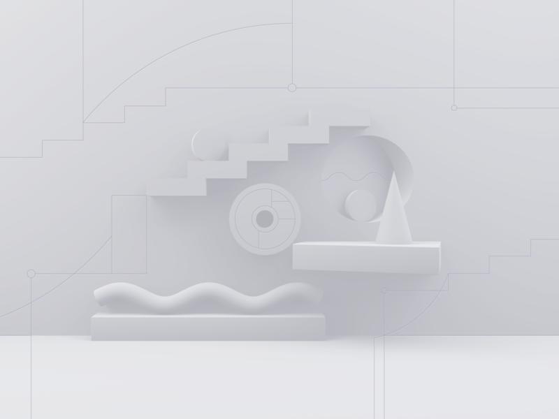 Still Wall stilllife render c4d 3d flat design isometric illustration