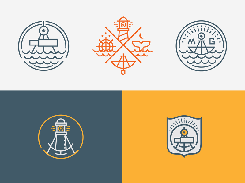 At Sea stars mark gari matte lighthouse light compass looking glass looking sea flat design branding logo