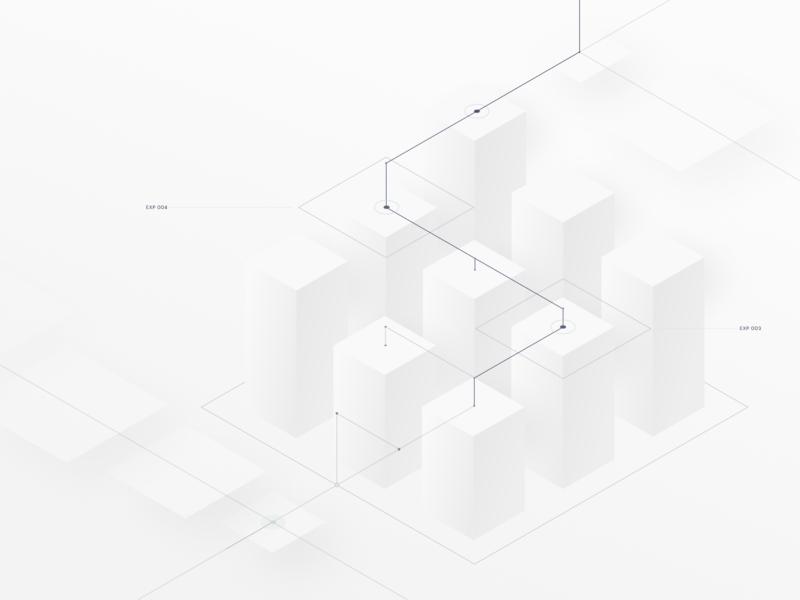 Iso Nodes 02 steps core lines cubes isometric illustrator ui web 3d vector flat illustration