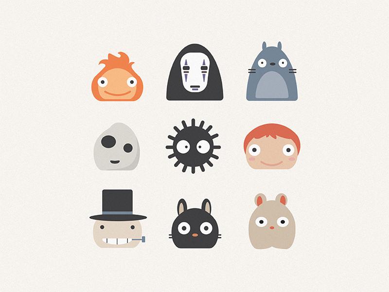 Studio Ghibli Icons ponyo jiji no face totoro spirited away icon studio ghibli