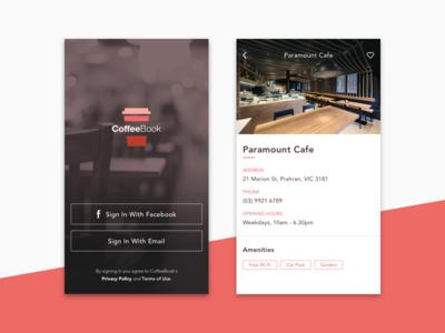 Coffeebook App signup login brand restaurant cafe app gradient coffee logo ui