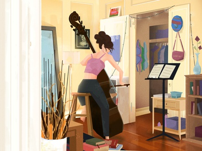 Working on her Bach bass double bass curls bach digital painting brushes illustration music classical music classical