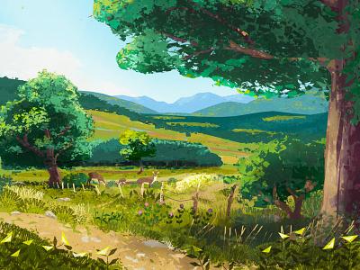 Dolly Sods, West Virginia digital painting digital art fawn deer backpacking hiking west virginia