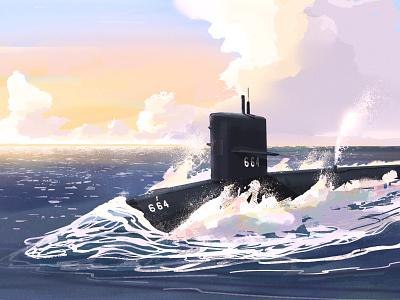 USS Sea Devil digital painting digital art sunset hull blow periscope clouds ocean wave military submarine