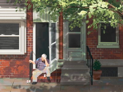 Fishtown Daydream beer old man person figure daydreaming photoshop digital painting philly philadelphia
