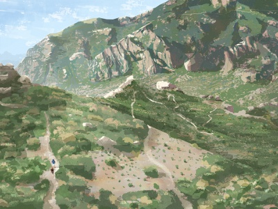 Switchbacks in Texas texas camping backpacking hiking texture photoshop digital painting guadalupe mountains