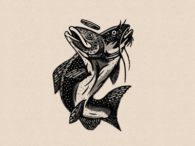 Hook, Line and Sinner illustration logo fish logo bait and tackle catfish trout fishing fish