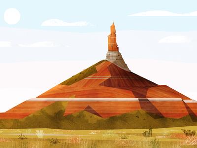 Chimney Rock vector shapes illustration simple geometric scenery outdoors national parks oregon trail nebraska chimney rock