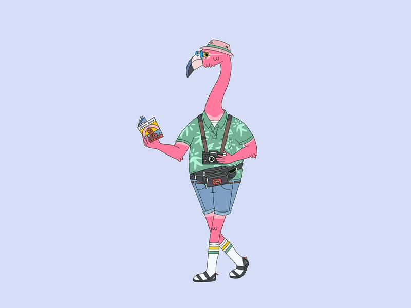 Flamingo geometric shapes vector philadelphia illustration flamingo