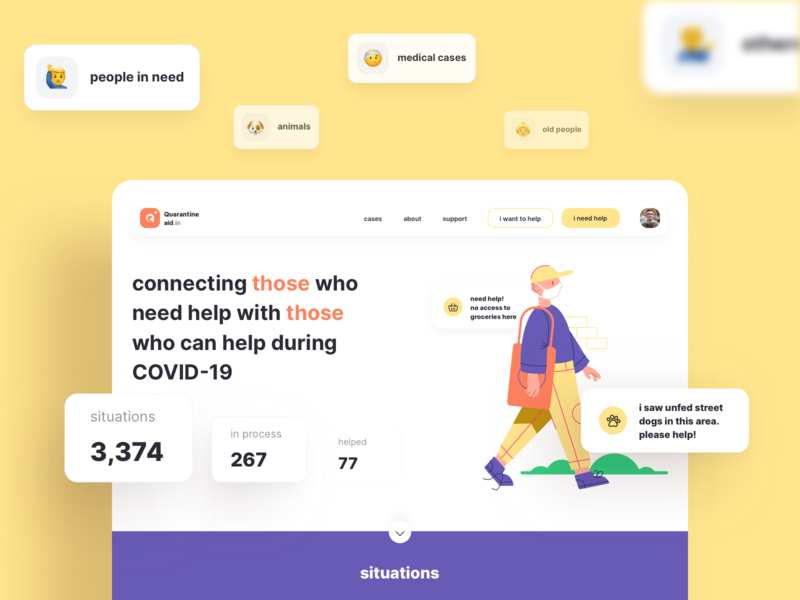Homepage | Quarantineaid.in website website web design web ux ui product design product open source lockdown interaction illustraion help freelance design covid19 coronavirus corona case study app animation