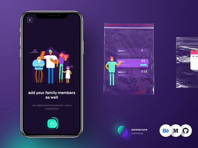 Onboarding for coronacure casestudy ux interaction animation ui corona covid19 app design medical vaccine product freelance opensource onboarding dark web illustration health tech