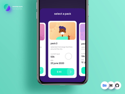 Buy a pack flow | coronacure casestudy ux animation interaction corona covid health app design vaccine product freelance ui card select pricing add dark health tech illustration