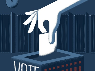 Get Out and Vote graphicdesign design shades white red blue flat president debates election vote illustration