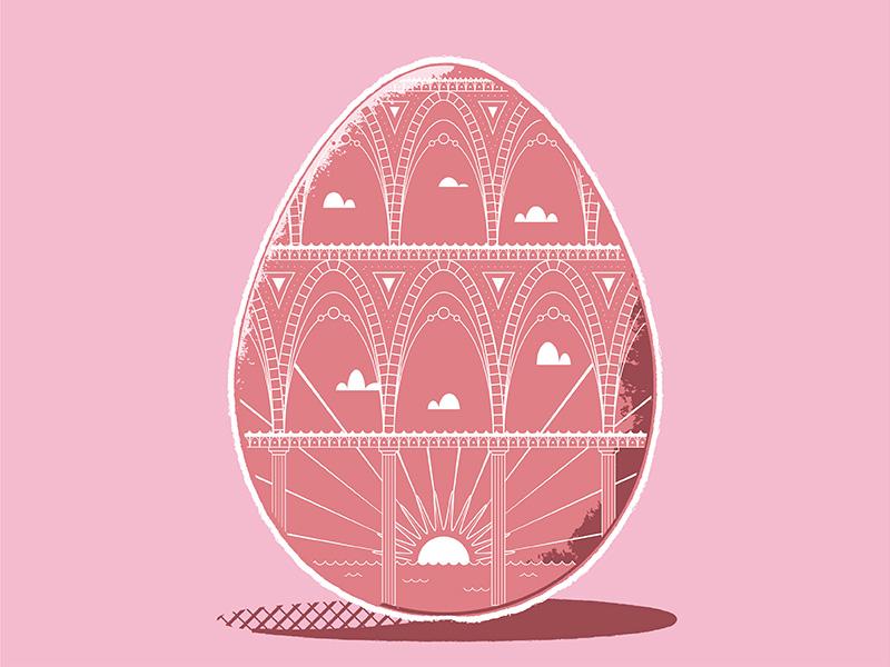 Roman Egg-queduct happy clouds sunshine aquaduct pink texture monoline egg easter graphic design illustration