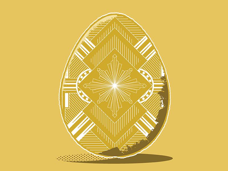 Art Deggo easter egg flat illustration texture illustration art deco monoline gold