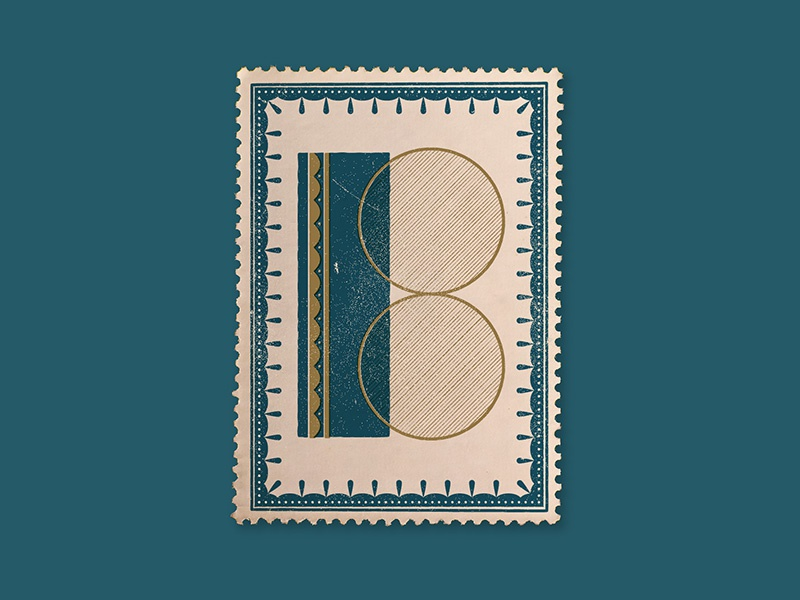 B decoration blue gold distressed vintage stamp art deco type initial b drop cap lettering