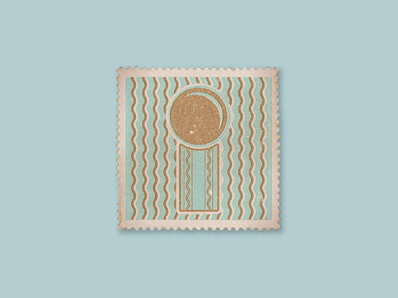 I blue gold pattern texture stamp detail i art deco letter