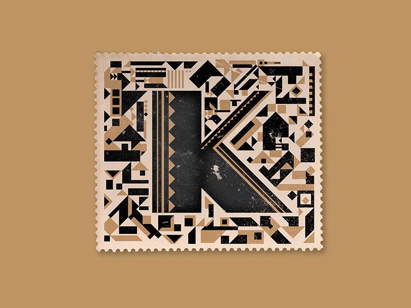 K detail typography type lettering letter initial gold cap drop contrast deco art